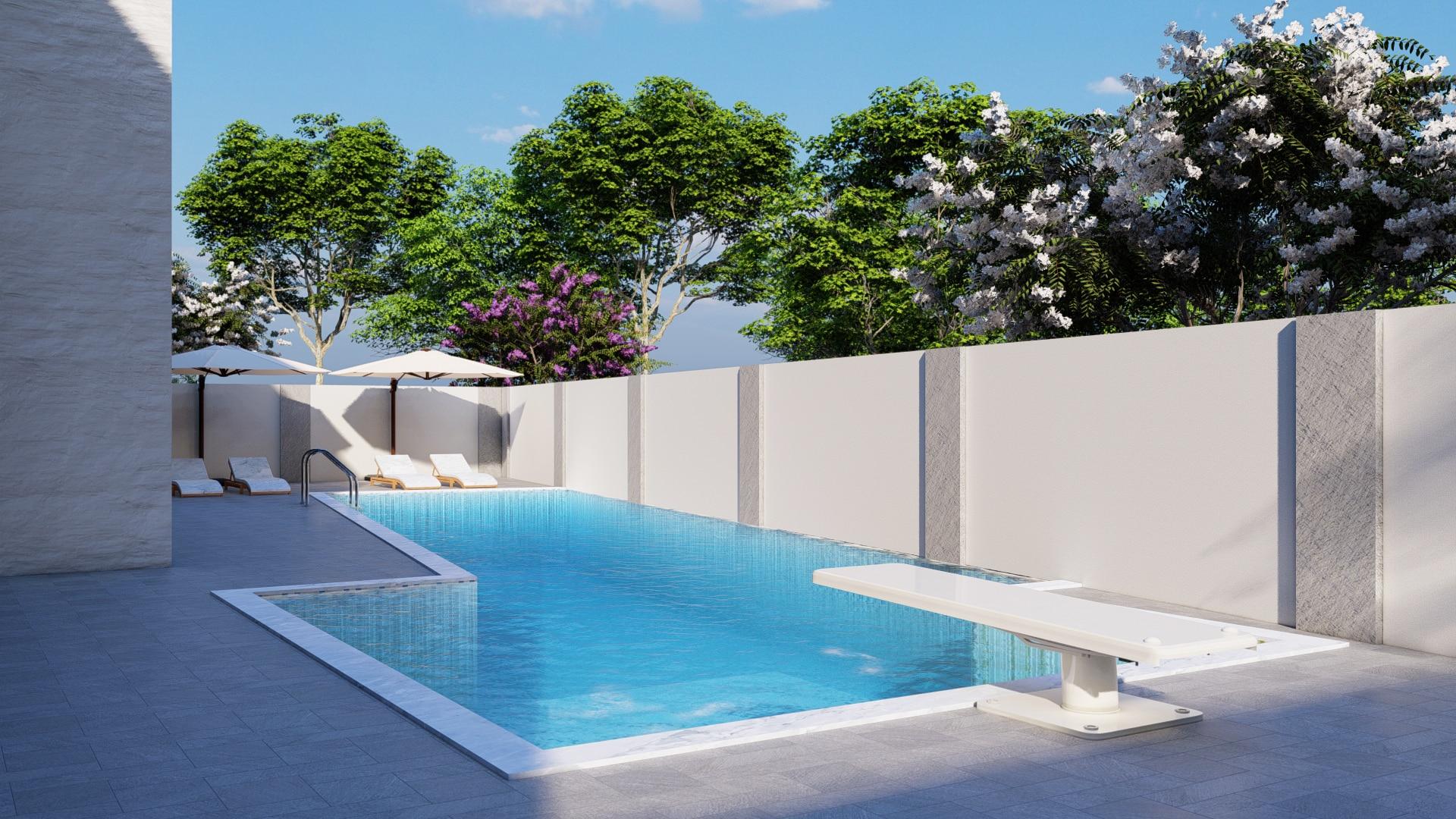 Modélisation 3D extérieure d'une piscine
